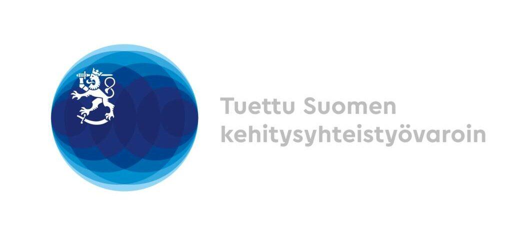Ulkoministeriön logo, jonka vieressä lukee tuettu Suomen kehitysyhteistyövaroin.